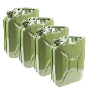 4x Benzinkanister Kraftstoffkanister Metall 20 Liter Olivgrün Kanister für Benzin und Diesel