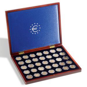 Leuchtturm Münzkassette VOLTERRA 2 Euro Münzen Kapseln Sammelbox Schatulle Holz