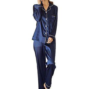 (Größe XL)Damen Soft Silk Satin Langarm Nachtwäsche Schlafanzug Negligee Pyjamas Set
