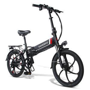 Samebike Faltbar Elektrofahrrad Elektro-Bike 48V 350W 10.4Ah, Schwarz, Elektrofahrrad Moped E-Bike Scooter Verbundene Felge Klappräder 20 Zoll