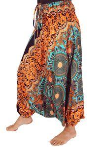 Afghani Hose, Overall, Jumpsuit, Haremshose, Pluderhose, Pumphose, Aladinhose - Türkis/orange, Damen, Mehrfarbig, Viskose, Pluderhosen & Aladinhosen