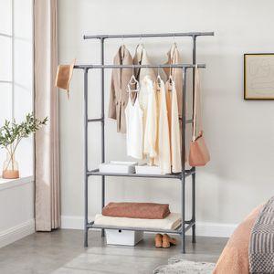 SONGMICS Garderobenständer mit 2 Stangen und 2 Ablagen aus Metall Kleiderständer bis 70 kg belastbar einfache Montage grau RDR002G02