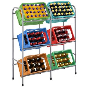 Juskys Getränkekistenregal Cool für 6 Kisten   Metall   3 Ebenen   96 × 34 × 116 cm   Getränkeregal Kistenregal Getränkekistenhalter Kastenregal