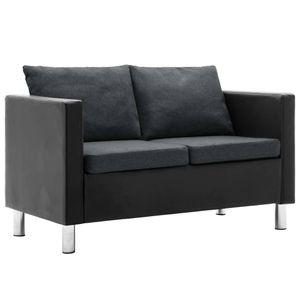 vidaXL 2-Sitzer-Sofa Kunstleder Schwarz und Dunkelgrau