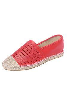 Damen Hohle Freizeitschuhe Mode Flache Schuhe Reine Farbe Kleine Lederschuhe,Farbe: Rot,Größe:42