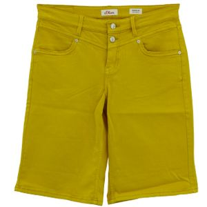 24756 S. Oliver, Karolin Bermuda,  Damen kurze Jeans Shorts Bermudas, Stretchdenim, yellow, D 42 W 32