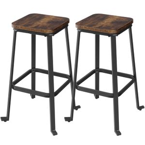 VASAGLE Barhocker 2er Set Barstühle Esszimmerstühle mit Fußstütze Höhe je 71 cm, Industrie-Design, vintagebraun-schwarz LJB034B01
