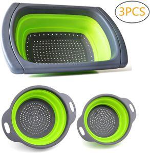 Faltbare Seiher Sieb Set Klappbar Abtropfsieb über die Spüle Vegtable/Obst Küche Sieb Teesieb 3 Stück