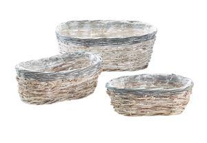 Pflanzkorb Rattan oval white washed grauer Rand mit Folie ausgeschlagen S/3
