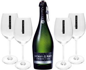 Scavi & Ray Prosecco Frizzante 0,75l (10,5% Vol) + 4x Ballon Gläser (20cl) -[Enthält Sulfite]