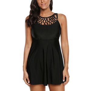 Plus Size Damen Badeanzug Badekleid Tankini Set Einfarbig Top + Slips Strandkleidung,Farbe:Schwarz,Größe:XL