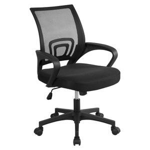 Yaheetech Bürostuhl Schreibtischstuhl ergonomischer Drehstuhl Chefsessel mit Mesh Netz Wippfunktion Schwarz