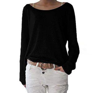 Mode Frauen lässig einfarbig lange O-Ausschnitt Ärmel lose Tops T-Shirt YQQ90911346 Größe:L,Farbe:Schwarz