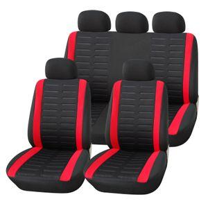 Autositzbezüge Set Universal | Upgrade4cars Auto-Schonbezüge in Schwarz Rot für Vorne und Hinten | Auto-Sitzbezug mit Airbag Öffnung | Auto-Zubehör