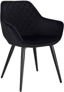 WOLTU Esszimmerstühle BH153sz-1 1x Küchenstuhl Wohnzimmerstuhl Polsterstuhl mit Armlehen Design Stuhl Samt Metall Schwarz