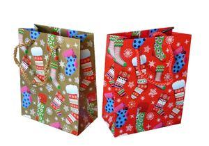 24 Geschenktüten Strumpf Weihnachten 2 fach sortiert 11 x 6 x 14,6 cm