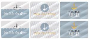 6er Set Frühstücksbrettchen MEER 23,5x14,5cm blau weiß Maritim LaVida