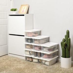 SONGMICS 12er Set   L   Ordnungsbox mit Deckel   35 x 20 x 12,5 cm   Schuhboxen stapelbare Schuhorganizer für Schuhe bis Größe 41 transparent weiß LSP12WT