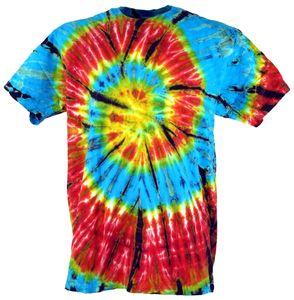 Batik T-Shirt, Herren Kurzarm Tie Dye Shirt - Hellblau/rot Spirale, Mehrfarbig, Baumwolle, Größe: M
