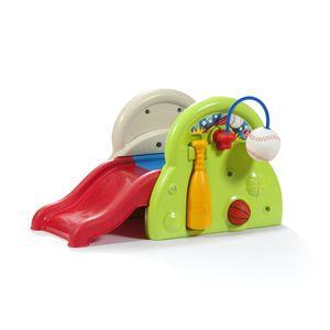 Step2 Sports-Tastic Activity Center Spielgerät mit Rutsche und vielen Spielmöglichkeiten | Kinderrutsche, Basketballkorb, Baseball & Schläger aus Kunststoff