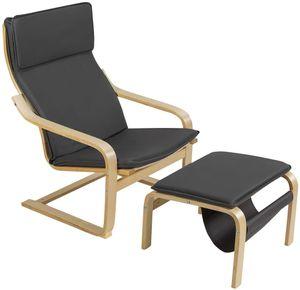 COSTWAY Relaxsessel mit Ottomane, Relaxstuhl mit Zeitungsständer, Armlehnensessel Kippschutz, Entspannungsstuhl aus Holz, Fernsehsessel inkl. abnembare Kissen Grau