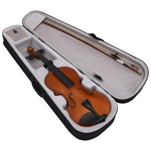 yocmall Violine Komplettset mit Bogen und Kinnstütze Dunkles Holz 4/4