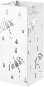 WOLTU Regenschirmständer aus Eisen, L20 x B20 x H49cm, mit Wasserauffangschale, 4 Haken für Taschenschirme, Weiß Rechteck