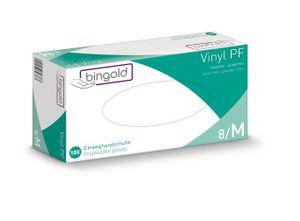 BINGOLD Vinyl Plus 45, Einweghandschuhe, transparent, puderfrei, AQL 1,5, VE 100 Stück - M