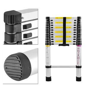 Hengmei Aluminium Teleskopleiter klappbar 3,8m Multifunktionsleiter Aluleiter Klappleiter 150 kg Belastbarkeit (3,8m)