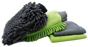 4-teiliges Autopflegeset, 2 Autowaschhandschuhe und 2 Mikrofasertücher