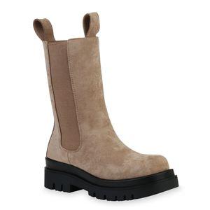 Mytrendshoe Damen Stiefel Plateaustiefel Blockabsatz Profil-Sohle Schuhe 835771, Farbe: Khaki Velours, Größe: 39