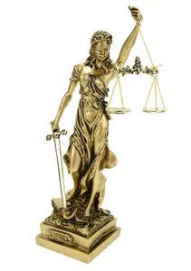 Alabaster Justitia Göttin Figur Skulptur goldfarben BGB Recht Gerechtigkeit 32 cm