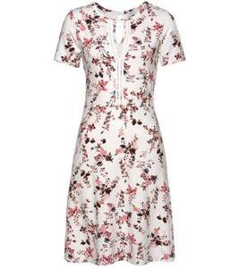 BOYSEN´S Mini-Kleid sommerliches Jersey-Kleid für Damen mit Blumen-Muster Weiß, Größe:38