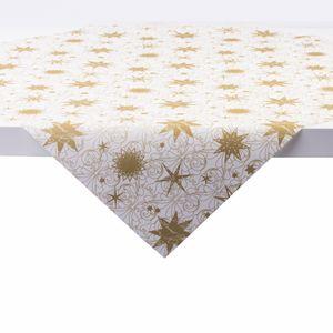 Sovie HOME Tischdecke Christmas Dreams in Gold-Weiß aus Linclass® Airlaid 80 x 80 cm, 1 Stück - Weihnachten Mitteldecke