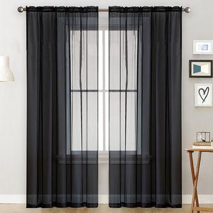 Transparente Vorhaenge Wohnzimmer Rod Pocket Window Curtain Panels Schlafzimmer Semi Sheer Voile Curtains Schwarz (39''Bx98''L, 2 Panels)