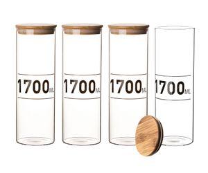 4x Vorratsglas 1,7 Liter Bambusdeckel Glas 1700 ml Aufbewahrungsglas Spaghettiglas Lebensmittelglas