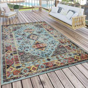 Outdoor Teppich Türkis Blau Balkon Terrasse orientalisches Design Vintage Weich, Grösse:120x170 cm