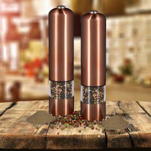 relaxdays 2 x Pfeffermühle bronze im Set, elektrische Gewürzmühlen, Salzmühlen nachfüllbar