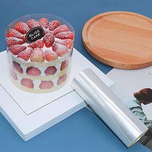 Tortenrandfolie Kuchen Kragen Transparent DIY Kuchenhalsband Klare Kuchenstreifen zum Backen Dekorieren, Schokoladenmousse-Kuchen(10m*10cm)