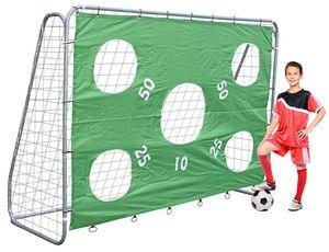 Stabiles Fußballtor Tor mit Torwand 5 Schussloecher gruen