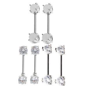 3 Paar 316L Edelstahl Nippel Piercing Bar Schild Barbell CZ Ring 14G