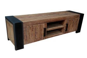 SIT Möbel TV-Lowboard | 2 Türen, 2 offene Fächer | Teak-Holz mit Metall | antikfinish | B 187 x T 50 x H 52 cm | 11415-01 | Serie CROCO