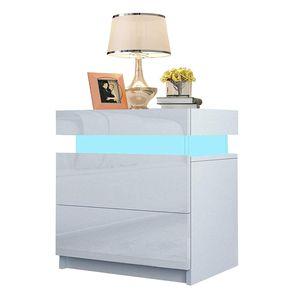 YOLEO Nachttisch Nachtschrank LED Nachtkommode Nachtkonsole Hochglanz/Front Kommode Schrank mit 2 Schubladen- LED Beleuchtung -für Schlafzimmer ( Weiß / 45x35x52)