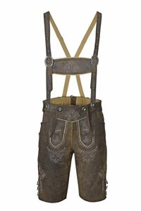 Trachten Lederhose Bundhose kurz mit Trägern Vintage Look Braun 48