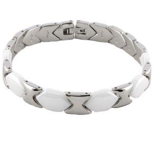 Damen Armband Armkette aus weißer Keramik und Edelstahl in 19 und 21 cm : 19 cm