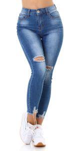 High Waist Skinny Jeans im Used Look mit Risse, Farbe: Blau, Größe: 36