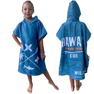 Kinder Badeponcho/ Poncho Stars 4-7 Jahre Blau Hawaii