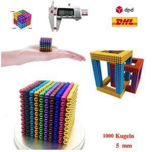 1000 Stk. 5mm Kugelmagnet Magnetische Kugeln Neodym Blöcke10 Farben + METAL BOX
