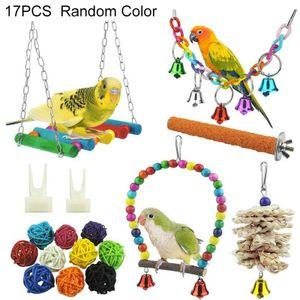 17er Vogelspielzeug Set für Vögel, Holz Hängebrücke Glöckchen Kauspielzeug für Papageien, Wellensittiche, Nymphensittiche