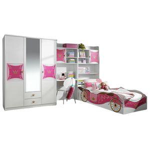 Kinder- und Jugendzimmer Zoe 4-tlg Kleiderschrank Schreibtisch + Regal inkl Bettkasten Bett weiß pink Mädchen  blauer Engel 326 cm x 238 cm Jugendzimmer
